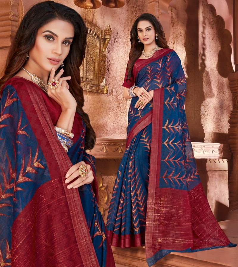 Blue & Maroon Color Cotton Silk Casual Party Sarees : Ambala Collection  NYF-2183 - YellowFashion.in