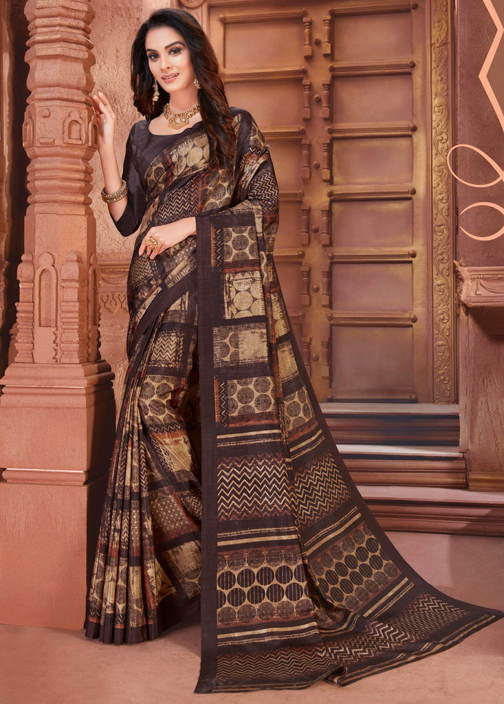 Brown Color Cotton Silk Casual Party Sarees : Ambala Collection  NYF-2184 - YellowFashion.in