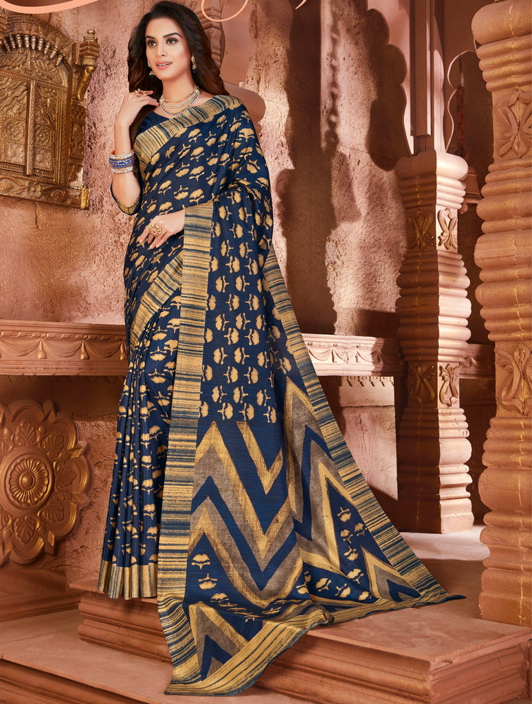 Blue Color Cotton Silk Casual Party Sarees : Ambala Collection  NYF-2187 - YellowFashion.in