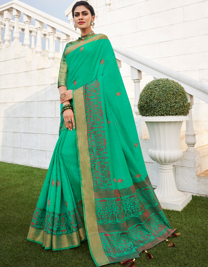 Green Color Banarasi Cotton Silk  Sarees For Newly Wedded NYF-5710