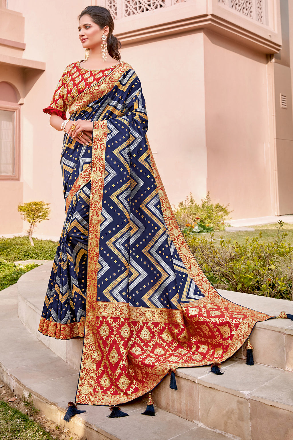 Blue Color Weaving Silk Splendid Wedding Function Sarees NYF-8703