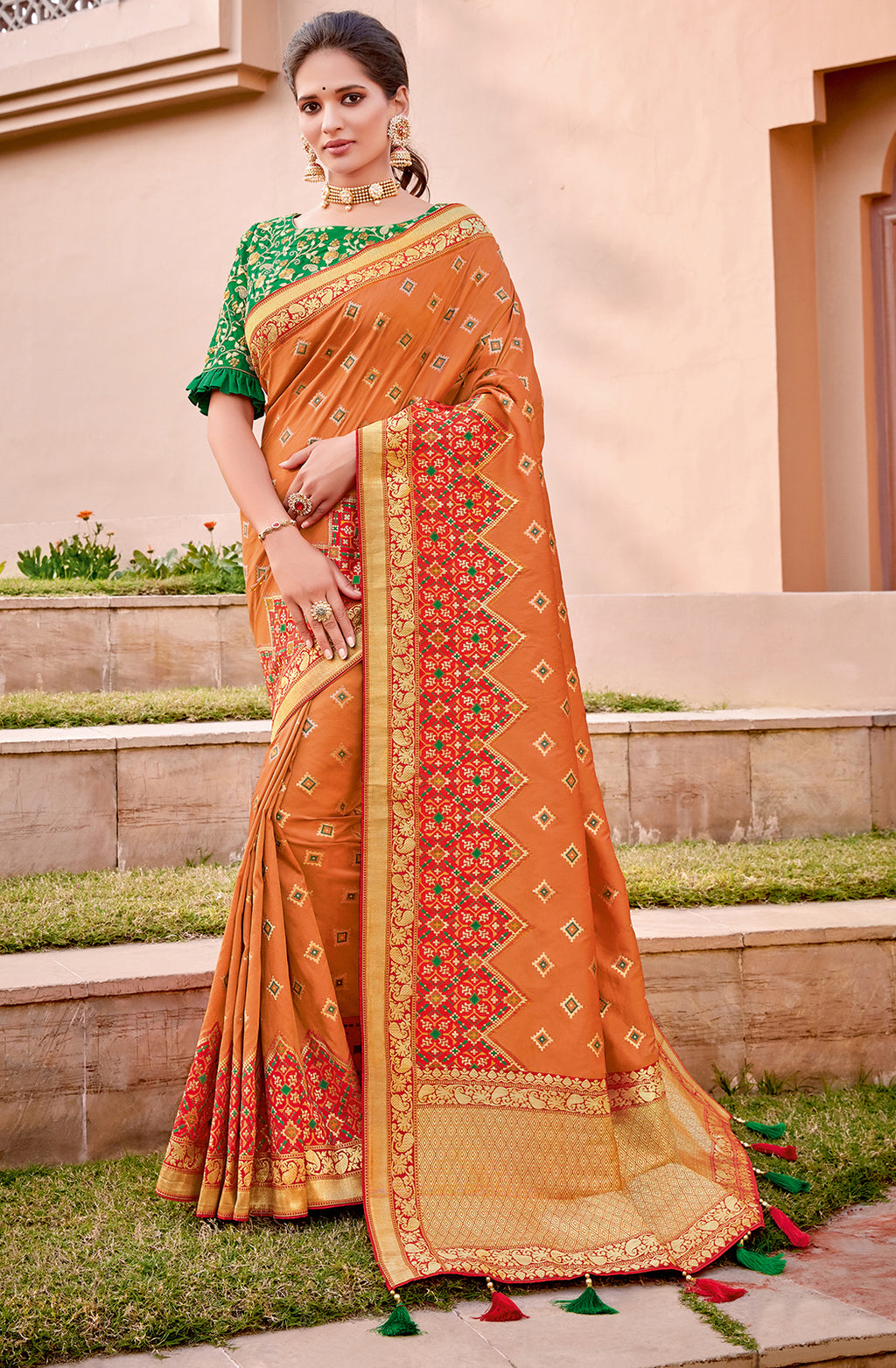 Orange  Color Weaving Silk Splendid Wedding Function Sarees NYF-8708