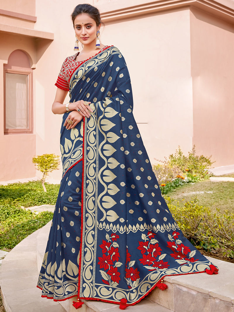 Blue Color Weaving Silk Splendid Wedding Function Sarees NYF-8709
