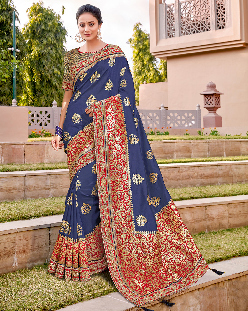 Blue Color Weaving Silk Splendid Wedding Function Sarees NYF-8711