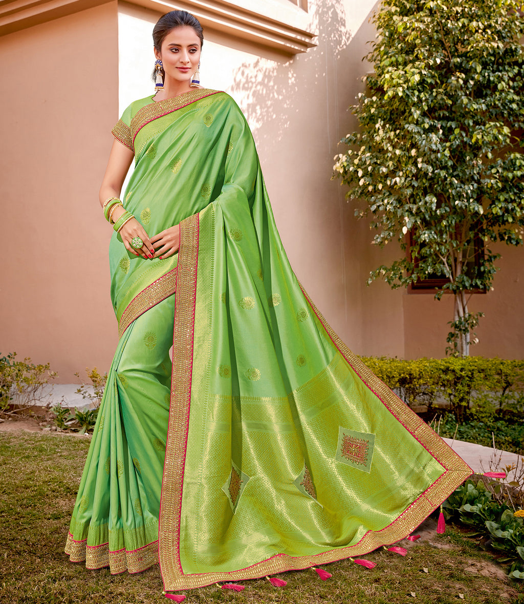 Green Color Weaving Silk Splendid Wedding Function Sarees NYF-8713