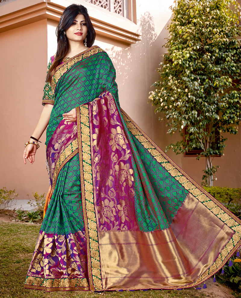 Rama Green Color Weaving Silk Splendid Wedding Function Sarees NYF-8714