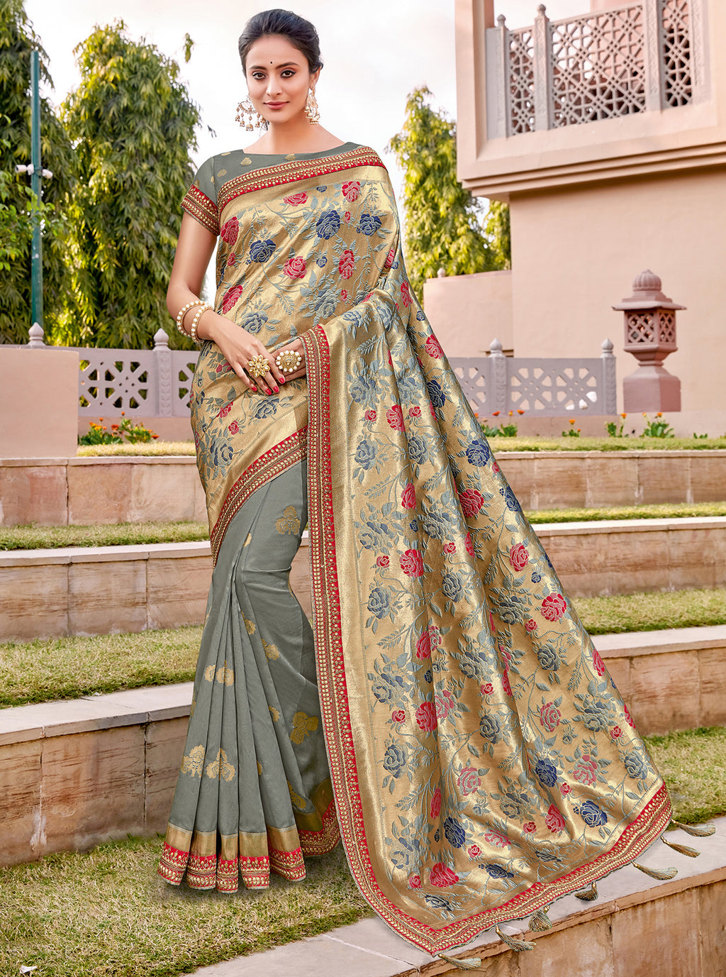 Grey Color Weaving Silk Splendid Wedding Function Sarees NYF-8718