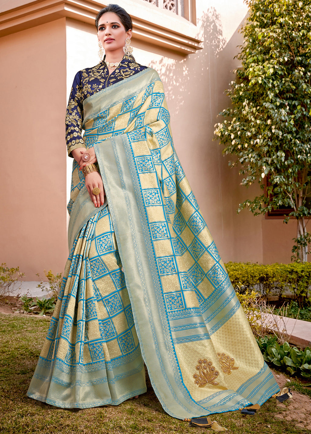 Cream & Sky Blue Color Weaving Silk Splendid Wedding Function Sarees NYF-8719