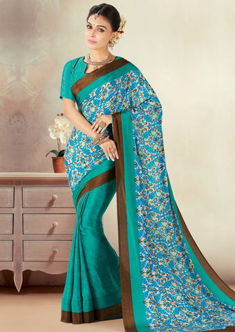 Green Color Crepe Daily Wear Sarees : Kravish Collection  YF-45179