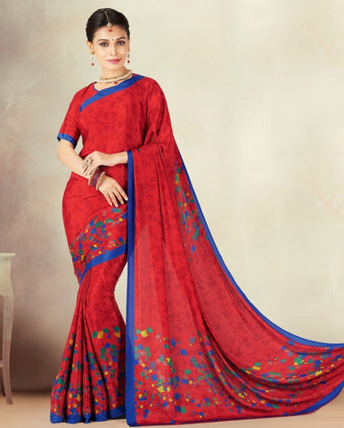 Red Color Crepe Daily Wear Sarees : Kravish Collection  YF-45181