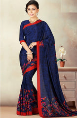 Blue Color Crepe Daily Wear Sarees : Kravish Collection  YF-45182