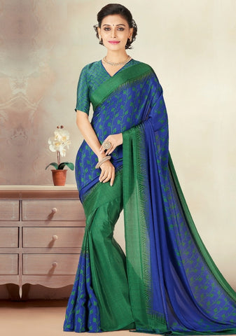 Blue & Green Color Crepe Daily Wear Sarees : Kravish Collection  YF-45183