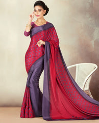 Pink & Purple Color Crepe Daily Wear Sarees : Kravish Collection  YF-45184