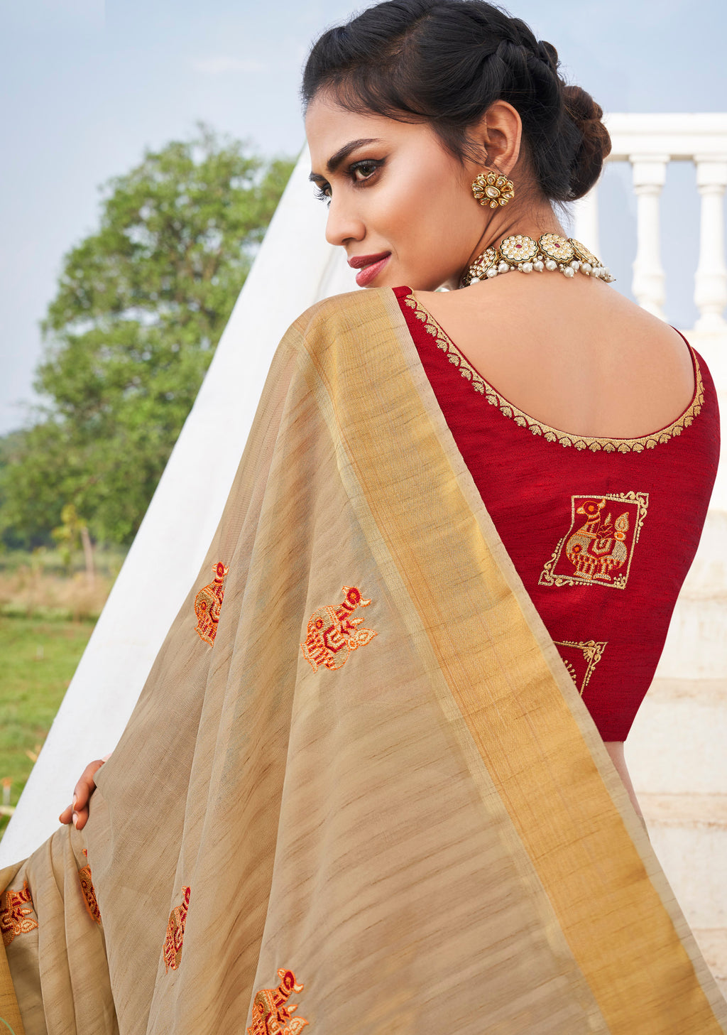 Cream Color Banarasi Cotton Silk  Sarees For Newly Wedded NYF-5711