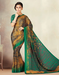 Green & Yellow Color Crepe Daily Wear Sarees : Kravish Collection  YF-45185