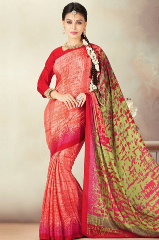 Pink & Mehendi Green Color Crepe Daily Wear Sarees : Kravish Collection  YF-45186