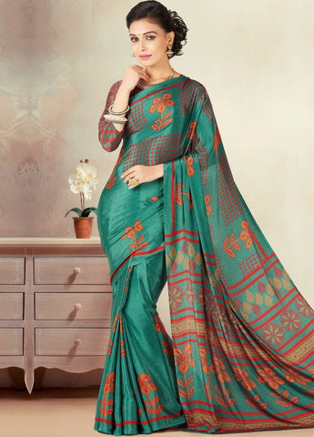 Green Color Crepe Daily Wear Sarees : Kravish Collection  YF-45187
