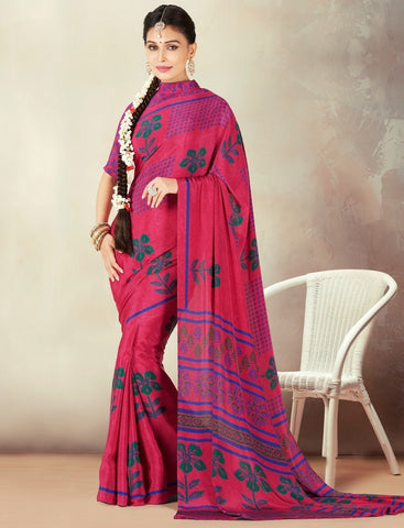 Rani Pink Color Crepe Daily Wear Sarees : Kravish Collection  YF-45188