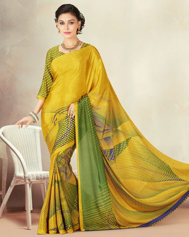 Yellow Color Crepe Daily Wear Sarees : Kravish Collection  YF-45189