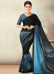 Black & Blue Color Crepe Daily Wear Sarees : Kravish Collection  YF-45190