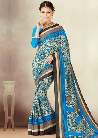 Cream & Blue Color Crepe Daily Wear Sarees : Kravish Collection  YF-45191