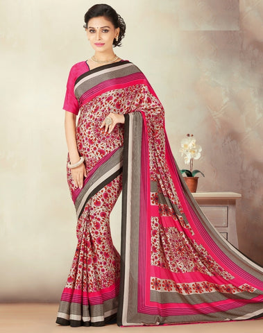 Cream & Pink Color Crepe Daily Wear Sarees : Kravish Collection  YF-45192