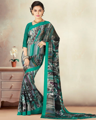 Green & Black Color Crepe Daily Wear Sarees : Kravish Collection  YF-45193
