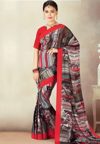 Red & Black Color Crepe Daily Wear Sarees : Kravish Collection  YF-45194