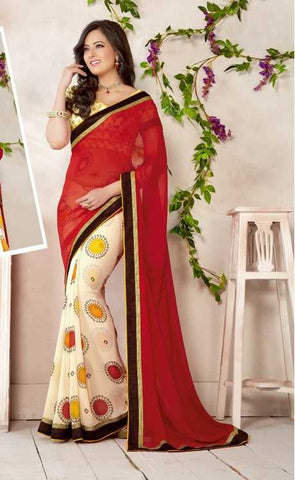 Cream & Red Color Georgette Casual Sarees : Tip-Tip Collection  YF-26147