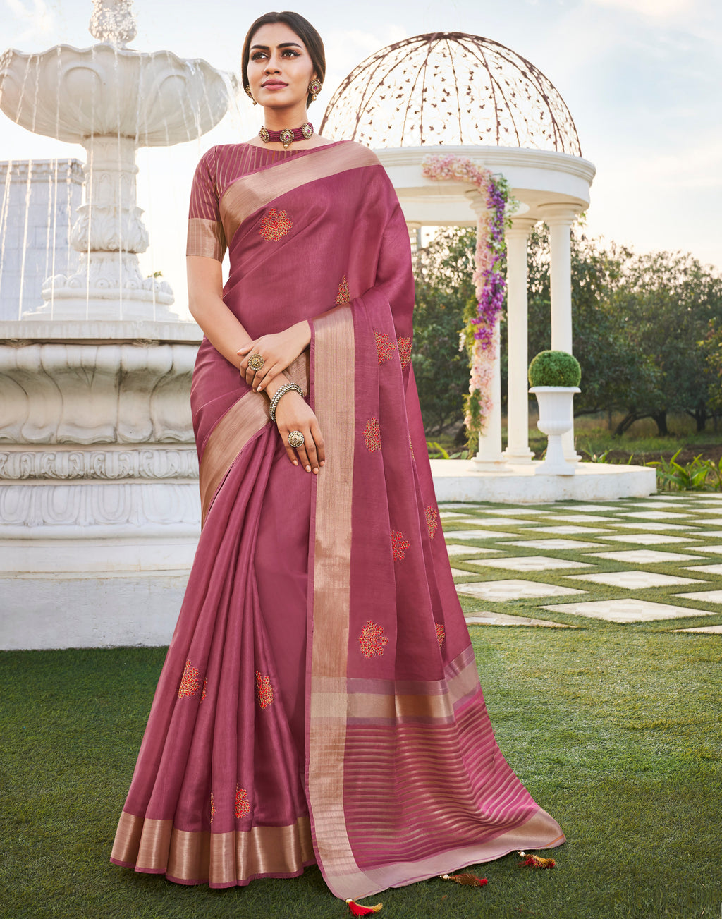 Pink Color Banarasi Cotton Silk  Sarees For Newly Wedded NYF-5712