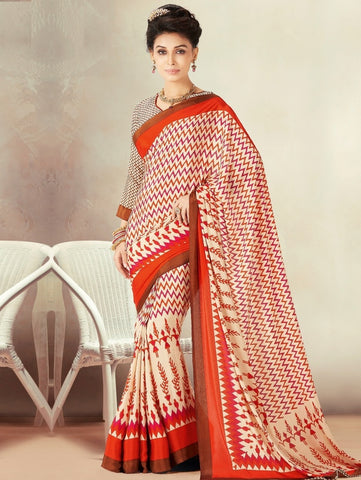 Cream & Orange Color Crepe Daily Wear Sarees : Kravish Collection  YF-45195
