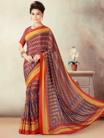 Purple & Red Color Crepe Daily Wear Sarees : Kravish Collection  YF-45196