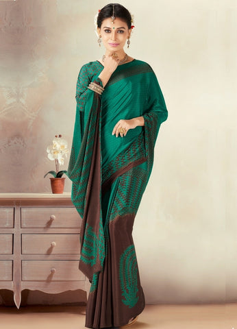 Green & Brown Color Crepe Daily Wear Sarees : Kravish Collection  YF-45197