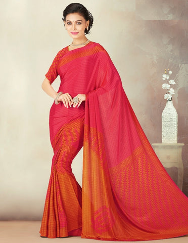 Pink & Orange Color Crepe Daily Wear Sarees : Kravish Collection  YF-45198