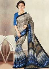 Ash Grey & Blue Color Crepe Daily Wear Sarees : Kravish Collection  YF-45199