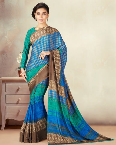 Green & Blue Color Crepe Daily Wear Sarees : Kravish Collection  YF-45201