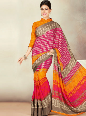 Pink & Yellow Color Crepe Daily Wear Sarees : Kravish Collection  YF-45202