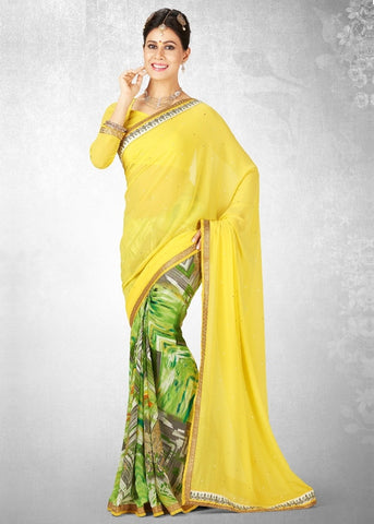 Yellow & Green Color Georgette Casual Party Sarees : Nainika Collection  YF-45609