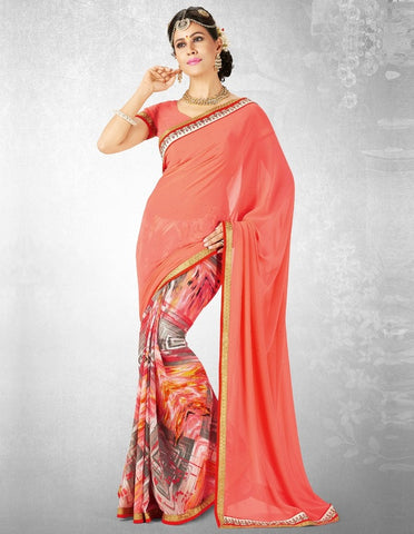 Peach Color Georgette Casual Party Sarees : Nainika Collection  YF-45610