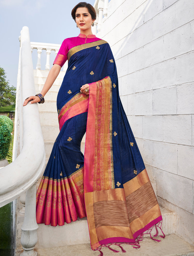 Blue Color Banarasi Cotton Silk  Sarees For Newly Wedded NYF-5713