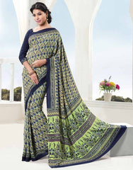 Pastel Green & Blue Color Crepe Daily Wear Sarees : Kaisha Collection  YF-31658