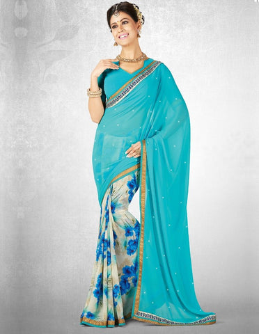 Cream & Firozi Color Georgette Casual Party Sarees : Nainika Collection  YF-45611