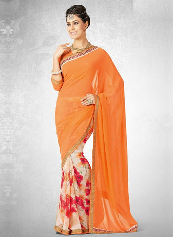 Cream & Orange Color Georgette Casual Party Sarees : Nainika Collection  YF-45612