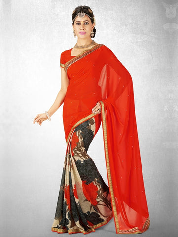 Red Color Georgette Casual Party Sarees : Nainika Collection  YF-45613