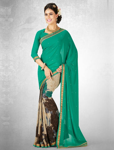 Green Color Georgette Casual Party Sarees : Nainika Collection  YF-45614