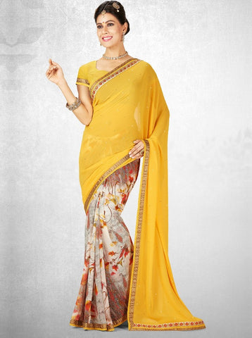 Cream & Yellow Color Georgette Casual Party Sarees : Nainika Collection  YF-45615