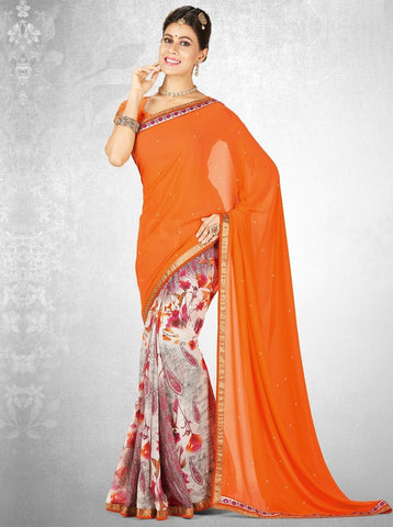 Orange Color Georgette Casual Party Sarees : Nainika Collection  YF-45616