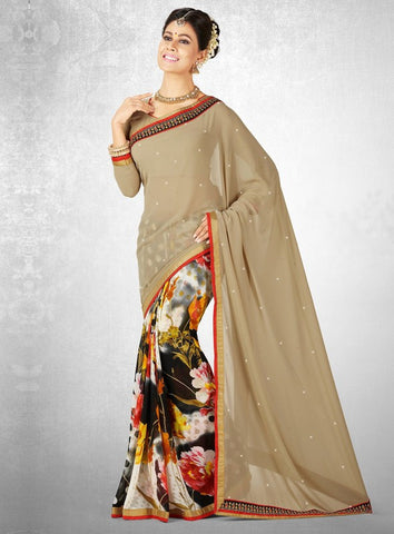 Beige & Black Color Georgette Casual Party Sarees : Nainika Collection  YF-45617