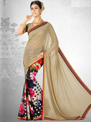 Beige & Blue Color Georgette Casual Party Sarees : Nainika Collection  YF-45618