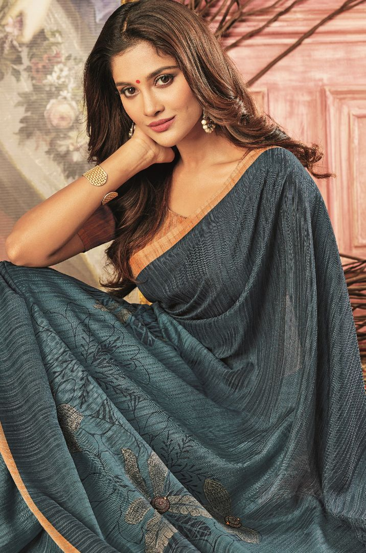 Grey Color Tusser Silk Festive Wear Sarees NYF-3772 - YellowFashion.in